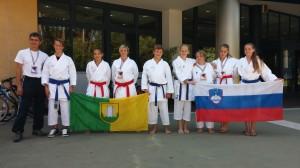 Karateistke in karateisti Karate kluba Velenje na tekmi v Lignanu 24.8.2014